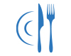 restaurants and gastronomy icon, plate with fork and knife